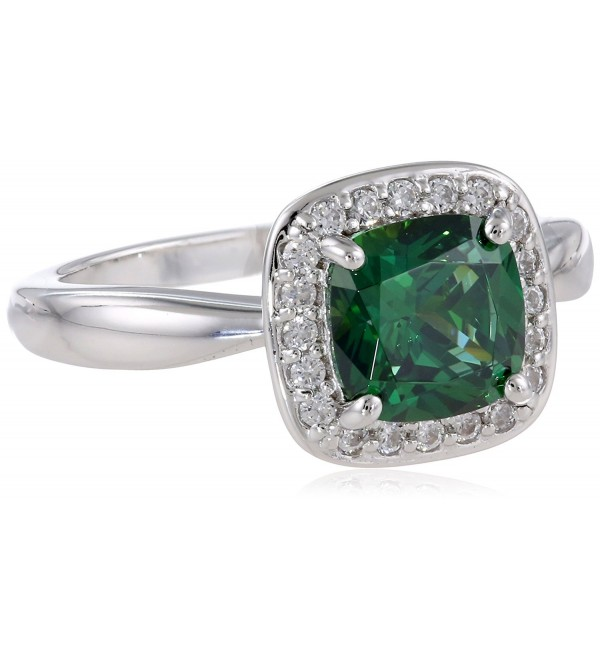 "Myia Passiello ""Cushion"" Cut Green Swarovski Zirconia Halo Ring - CP11EVF50ZR"