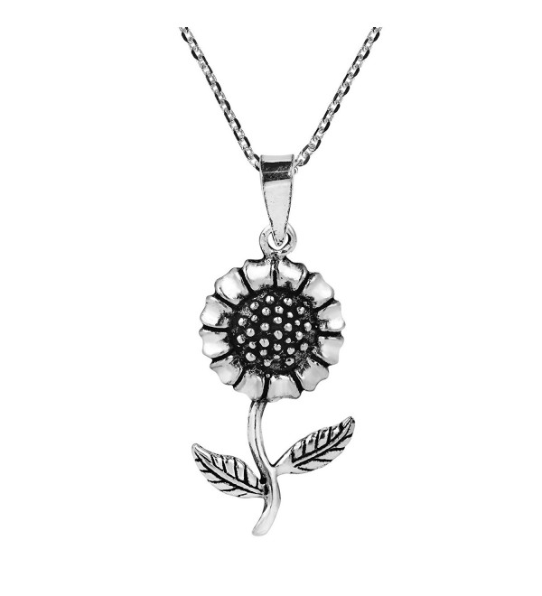 Charming Spring Sunflower .925 Sterling Silver Pendant Necklace - CU12NU9G58W