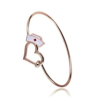 TUSHUO Nurse Gift Love Heart Bangle Bracelet Nursing Cap Jewelry Gift for Angel Nurse - Rose Gold - C2183N58E82