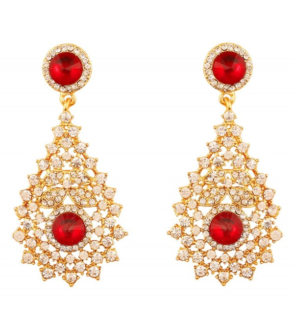 Touchstone Bollywood Rhinestone designer earrings - Red - CA17YX0YGD6