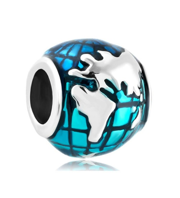 CharmsStory Sterling Silver Ocean Blue Earth World Globe Charm Beads For Bracelets - CZ129IM4DA9