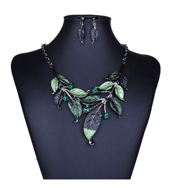 Moxeay Crystal Vintage Flower Rhinestone Leaves Necklace Choker Chunky Collar Chain - Green - C511R0QDBRD