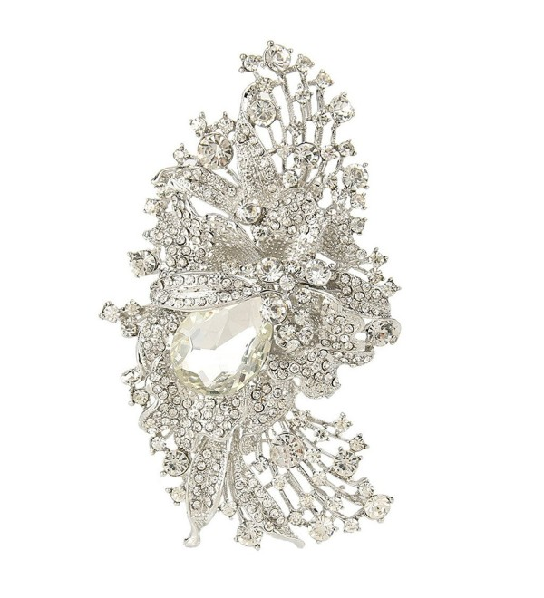 EVER FAITH 4.5 Inch Bridal Silver-Tone Flower Brooch Pendant Austrian Crystal Clear - CX11BGDO7NX