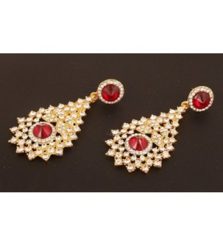 Touchstone Bollywood Rhinestone designer earrings in Women's Drop & Dangle Earrings