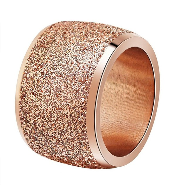 INRENG Women's Stainless Steel Ring Shiny Sequins Pave Sandblast Wide Wedding Band Silver- Rose Gold - Rose Gold - CP186U0S2G2