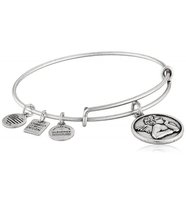 Alex and Ani Womens Charity by Design - Cherub Expandable Charm Bangle Bracelet - Rafaelian Silver - CY1225PPKDV