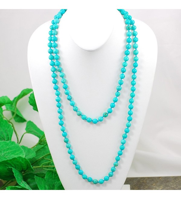 "Stunning! Blue Turquoise Hand Knot Long Necklace 60"" N16121411d - CH17YEDE46Z"