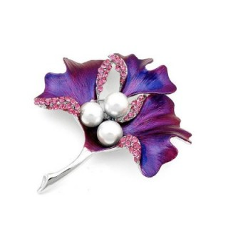 Glamorousky Leaf Brooch with Pink Austrian Element Crystal and White Fashion Pearl (4667) - CV118SOFLUV