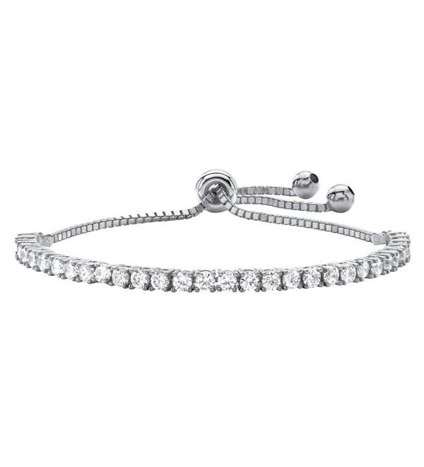 "White Cubic Zirconia Silvertone Adjustable Drawstring Strand Bracelet 10"" - CU1836Y2TXG"