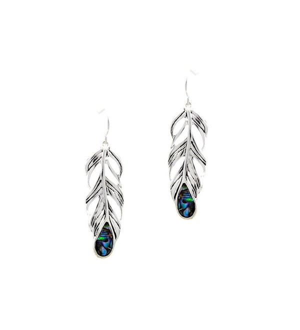 Antiqued Silver Feather Drop Earrings with Abalone Teardrop Inlay - C9127MHPXVV