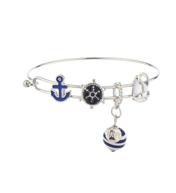 Lux Accessories Silver Tone Nautical Blue White Anchor Sailboat Charm Bracelet - CX17XX8KW6Y