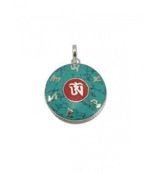Tibetan Turquoise and Coral Om Pendant From Nepal - CZ116WTHF8F
