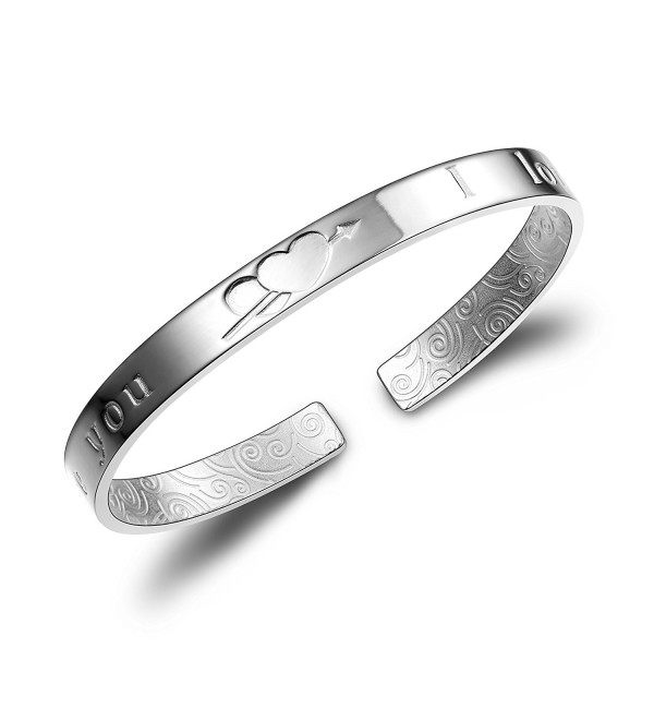 "Merdia 999 Sterling Silver Cuff Bracelets for Valentine's Day with Pattern ""I Love You"" charm bangle - 7"" - CE12DGJBJDZ"
