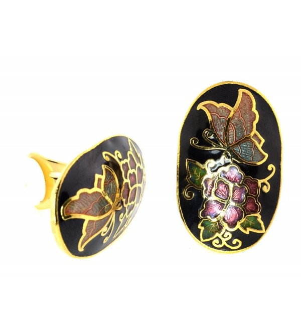 "Vintage Genuine Cloisonne Gold-tone ""CLIP-ON"" Earrings - CZ11L2OMXNR"