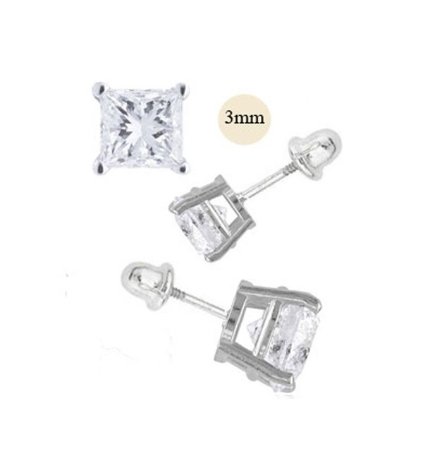 14K White Gold 3mm Princess Cut Simulated Diamond Stud Earring Set on Prong Setting- Screw Back Post - CQ11ZZF7429