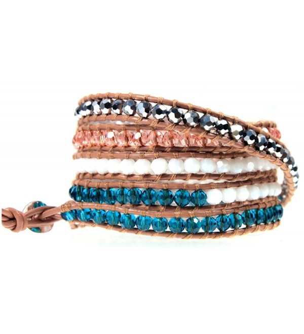 "39"" Azura Colorful Beaded Tan Leather Wrap Bracelet Adjustable 5x Wrap in Gift Box - CL116SK3OY7"