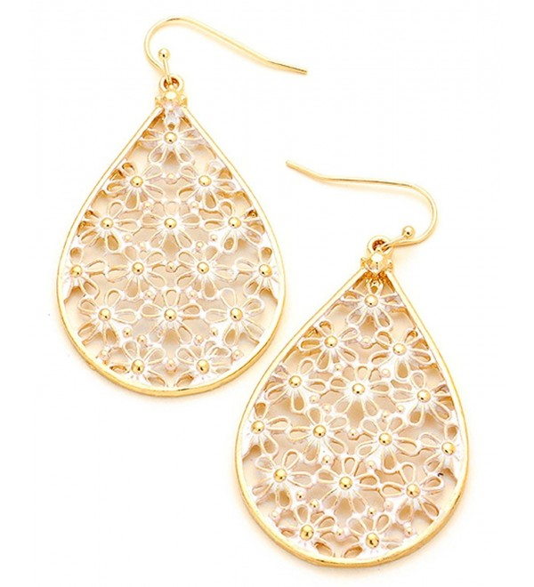 Women's Teardrop Filigree Floral Pattern Pierced Hook Earrings - White/Gold-Tone - CJ183RA75U0