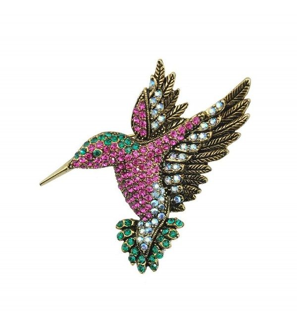 TTjewelry Beautiful Multi-color Hummingbird Rhinestone Crystal Bird Brooch Pin Gold Tone - CD12IQW2DI7
