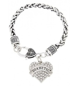 Diabetic Bracelet Crystal Adorned Heart Pendant Diabetic Bracelet for Type-I or Type-II Diabetics - CR12N3EEHF0
