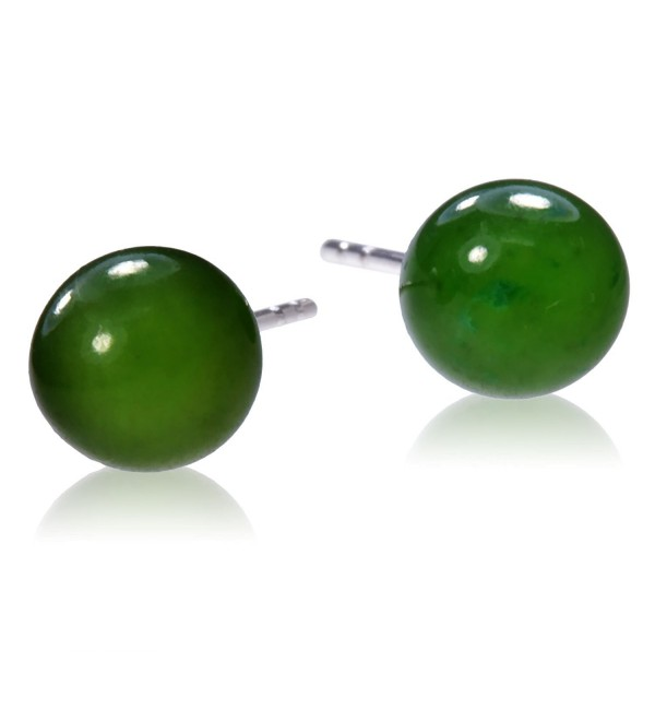 Sterling Silver Nephrite Jade Round Stud Earrings 6mm - C4184TL90OQ