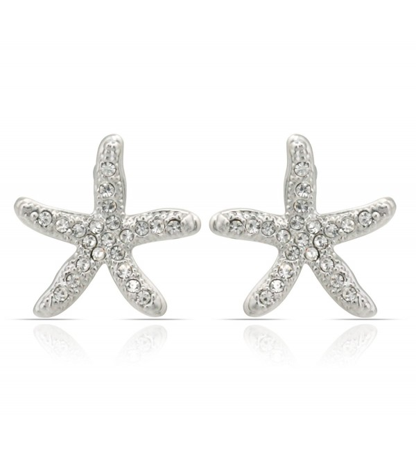 JanKuo Jewelry Rhodium Plated Pave Crystal Starfish Post Earrings - CJ1198H6NBD