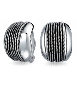 Bling Jewelry Rhodium Plated Twisted Cable Wide Half Hoop Clip On Earrings Rhodium Plated Brass - CI11X6QZV6F