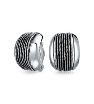 Bling Jewelry Rhodium Twisted Earrings in Women's Clip-Ons Earrings