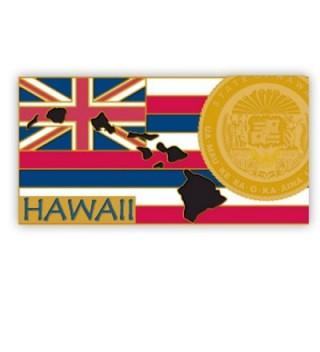 "PinMart's State Shape of Hawaii and Hawaii Flag Lapel Pin 1-1/4"" - CS119PEP4E1"