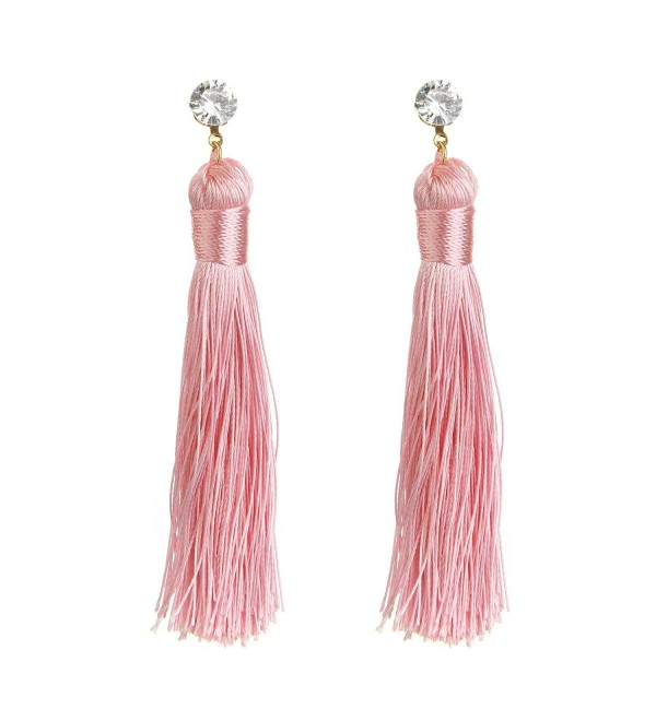 MELUOGE Perfect Long Drop Earrings Crystal Tassel Earring Bohemian Style Alloy Tassel Earrings - Pink - CE182KMWQ3M
