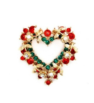 Heart Brooch Pin Vintage Red Crystal Wreath Holiday Brooch - CB1275232PR