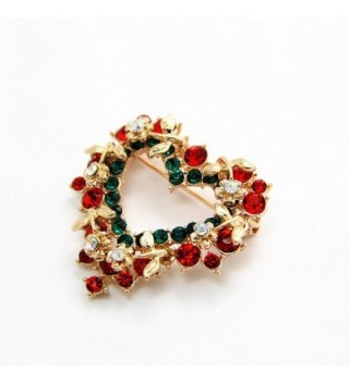 Brooch Vintage Crystal Wreath Holiday