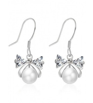 XZP 925 Sterling Silver Hook Pearl Drop Earrings Kids Girls White Simulated Pearls Earings for Women - Silver - CK1883IA65G