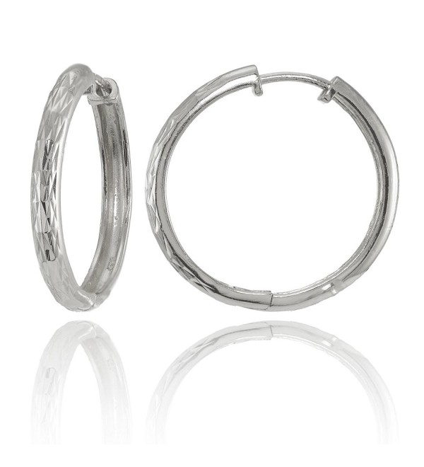 Sterling Silver Diamond-Cut Hinged Huggie Hoop Earrings- 2 Sizes - 20mm-silver - CS1846MK7C7