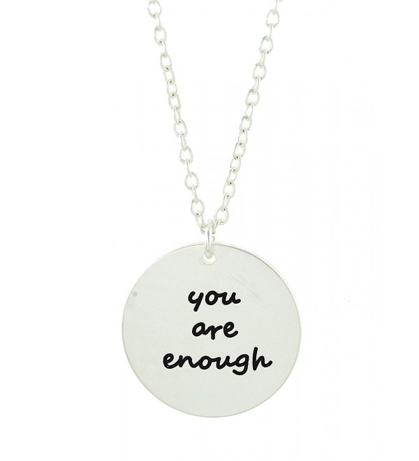 You Are Enough Silver Disc Necklace - C212MZF9SLS