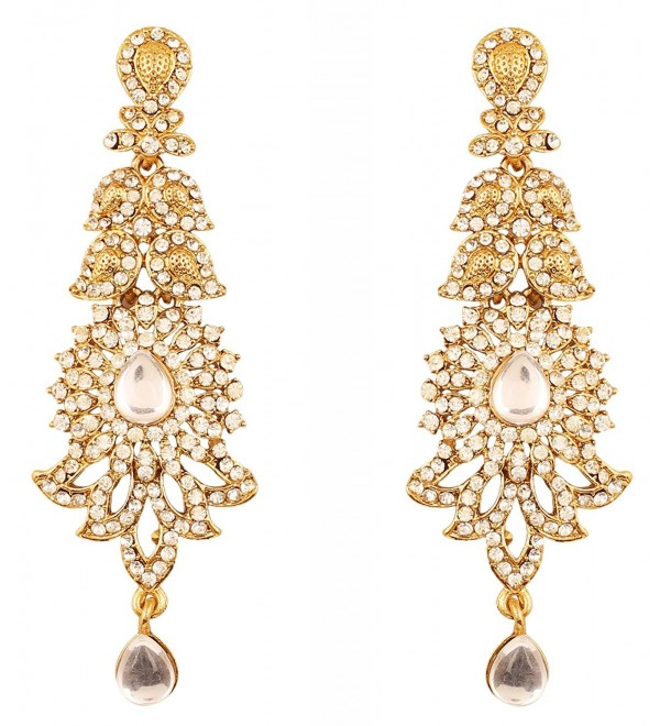 Touchstone Bollywood Rhinestone designer earrings - Gold - C917YXCHXN3