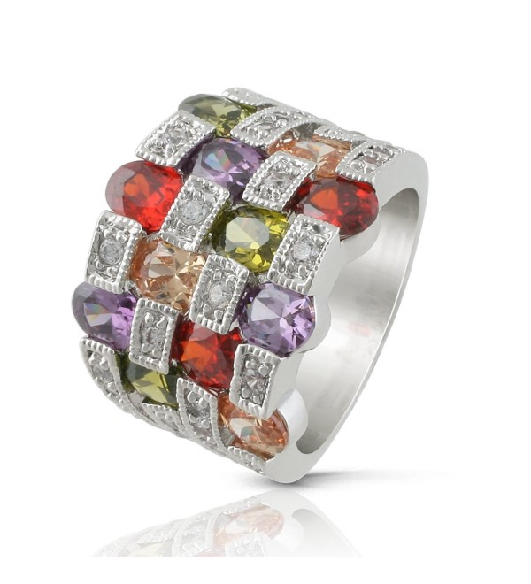 JanKuo Jewelry Rhodium Plated Multi Color Cubic Zirconia Cocktail Band Ring - CG121F7FV75