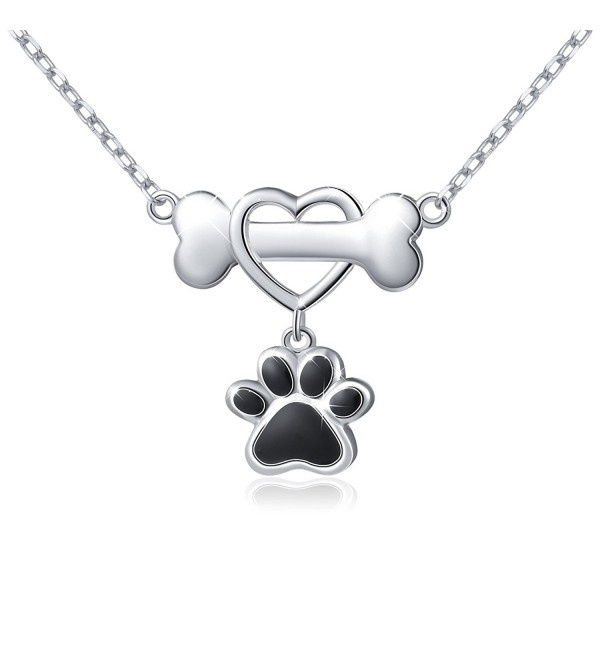 "925 Sterling Silver Forever Love Heart Dog Bone With Puppy Paw Pendant Necklace for Women- 18"" - CJ1853KI03I"