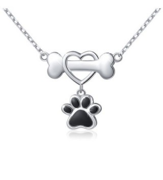 """925 Sterling Silver Forever Love Heart Dog Bone With Puppy Paw Pendant Necklace for Women- 18"""" - CJ1853KI03I"""