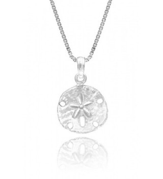 "Sterling Silver Sand Dollar Necklace Pendant with 18"" Box Chain - C112BYCC0B1"
