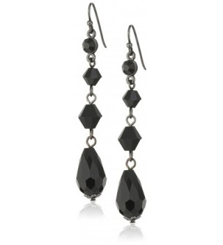 1928 Jewelry Linear Drop Earrings - Black - CL12MXCYBS7