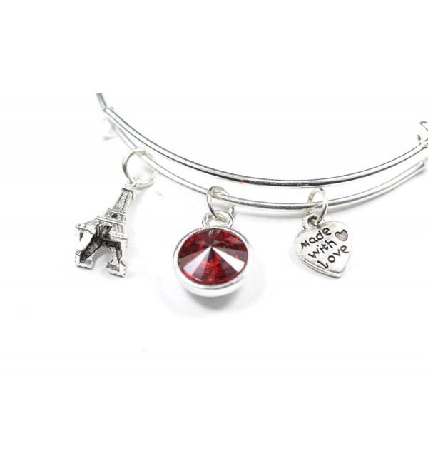 Swarovski Crystal Birthstone with Cute Paris eiffel tower Charm Wire Bangle Bracelet - JAN - C6124WSH26R