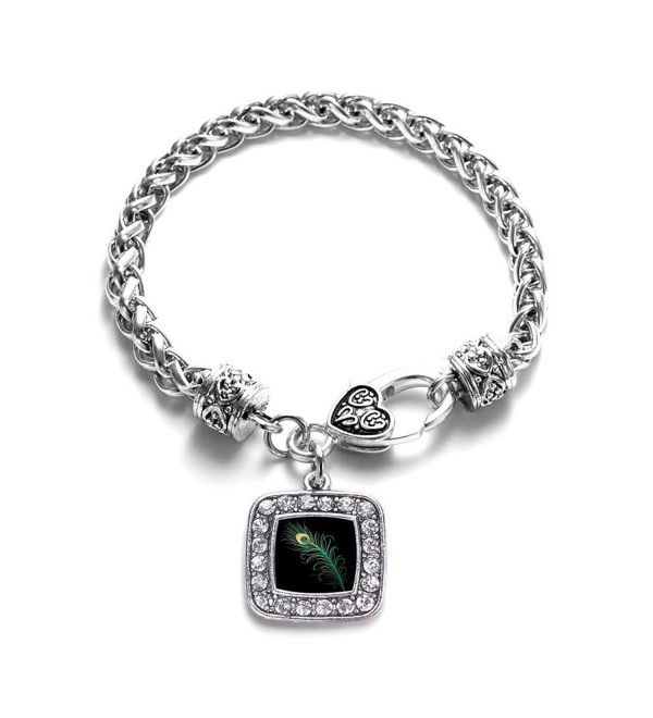 Peacock Feather Classic Silver Plated Square Crystal Charm Bracelet - CX11U7NYNFZ