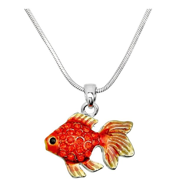 "DianaL Boutique Enameled Goldfish Pendant Necklace 17"" Chain Fish Fashion Jewelry - C112O6Q15RU"
