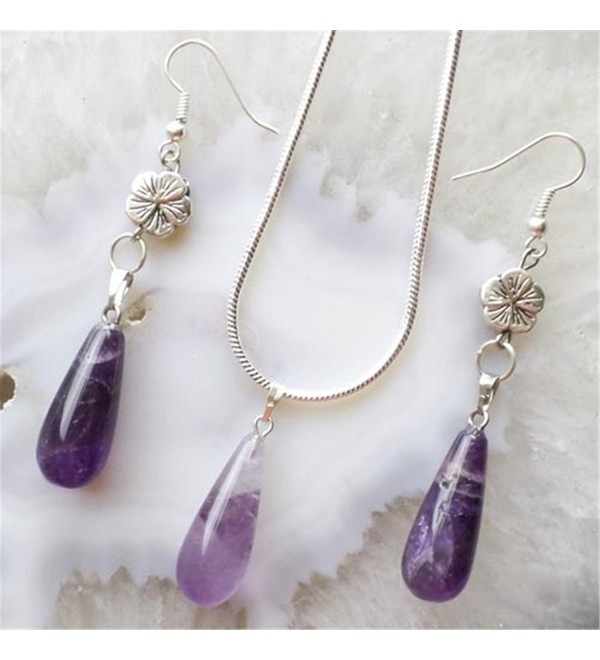 Fashion Amethyst Teardrop Necklace & Earrings Sets - C111ROCQYXV