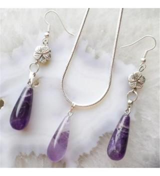 Fashion Amethyst Teardrop Necklace & Earrings Sets - C111ROCQYXV