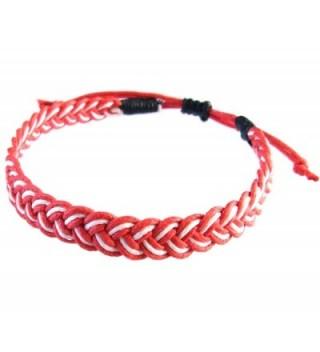 Rare Unique Asian Art Handmade Thai Buddha Fashion Style Red White Cotton String Wristband Bracelet - CW12HWK6RJ5