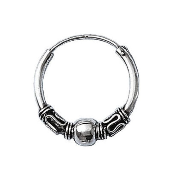 So Chic Jewels - 925 Sterling Silver 20 mm Celtic Knot & Ball Creole Hoop Earrings - CQ115KJADW7