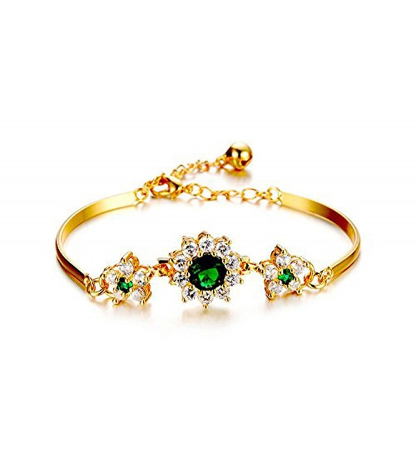CS-DB 18K Gold Real 18K Yellow Gold Filled Bangle Bracelet Chain Women Emerald Gem Stone Flower - C7129ACE1UT