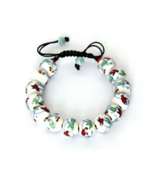 12mm Vintage Style Porcelain Beads Buddhist Wrist Mala Bracelet - CV1188DC8ET