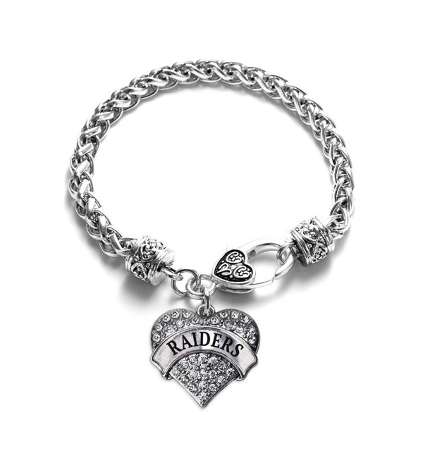 Raiders School Mascot Pave Heart Charm Bracelet Silver Plated Lobster Clasp Clear Crystal Charm - C6123HZUPIX
